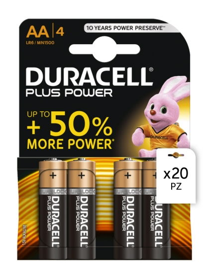 Duracell, Batterie Duracell Plus Power AA 4x20pz